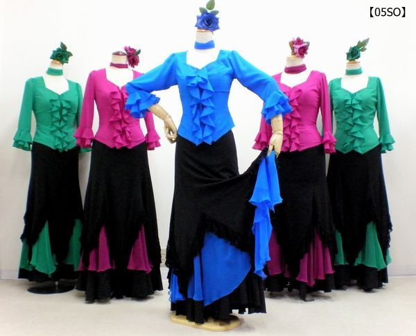 【05SO】フリルブラウス&さし色スカート