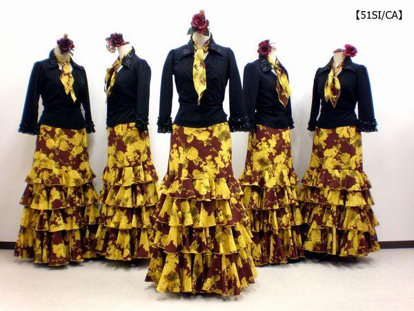 【51SI/CA】黒ブラウス&モダンローズスカート