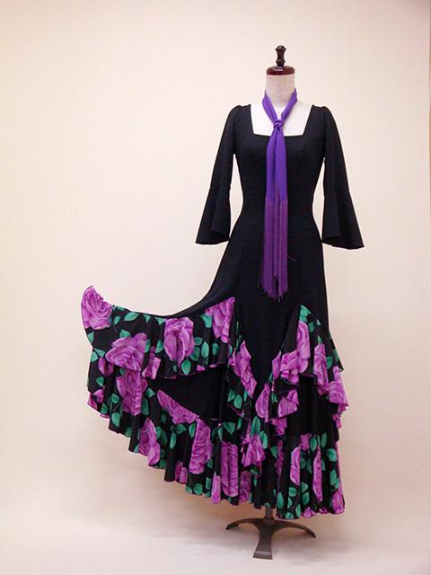☆ROP-4-3 黒×紫 バラ柄ワンピース