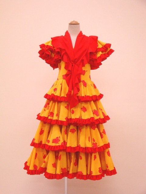 【ROPK-3-1】(一点もの)黄×赤バラ柄ワンピース 130cm