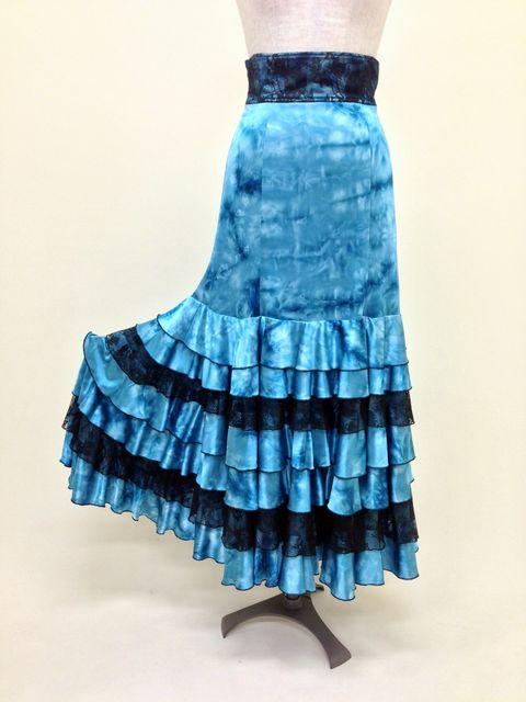 ☆【RSK-26-3】黒レースハイウエスト7段ボランテスカート(水色)