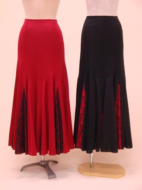☆【RSK-17-1・17-2】レース切替スカート(裾たて三角マチ)