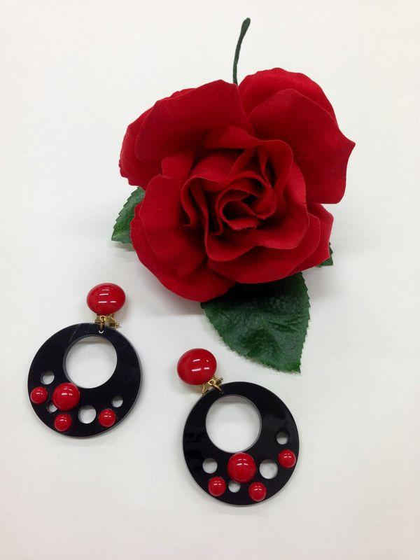 【RAC-12set】赤コサージュ&黒ドーナツイヤリングセット