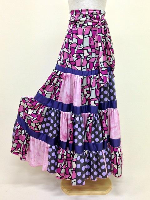 【RSK-54-4-M】ハギハギ ティアードスカート(幾何学×ドット)1点もの