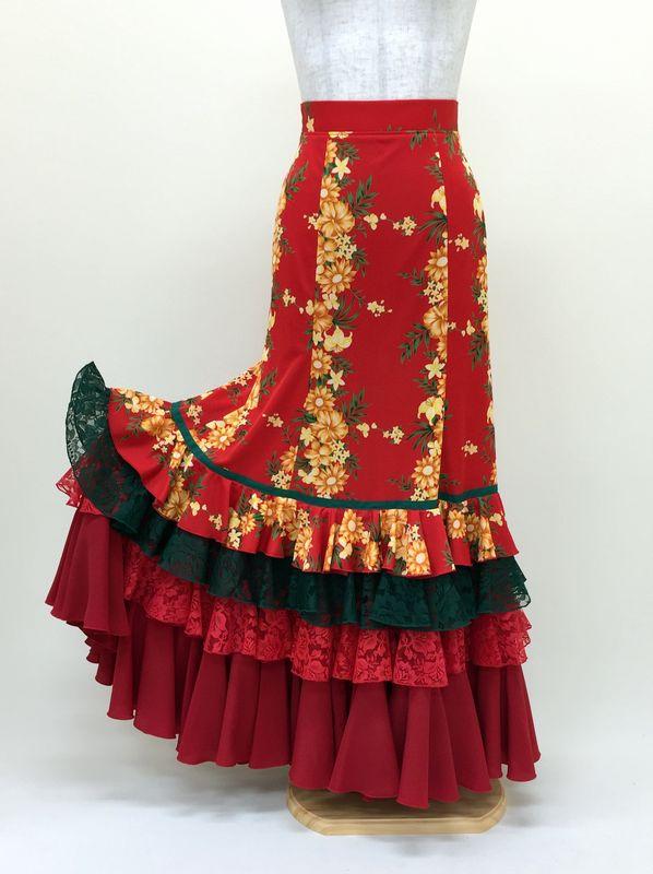 【RSK-63-3】赤×カリビアン花柄スカート