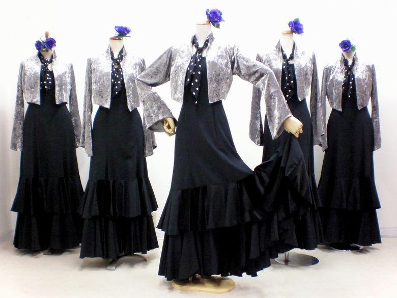 8829c1d531c3a C63SI グレーベロアジャケット&黒ワンピース - フラメンコドレス衣装の ...