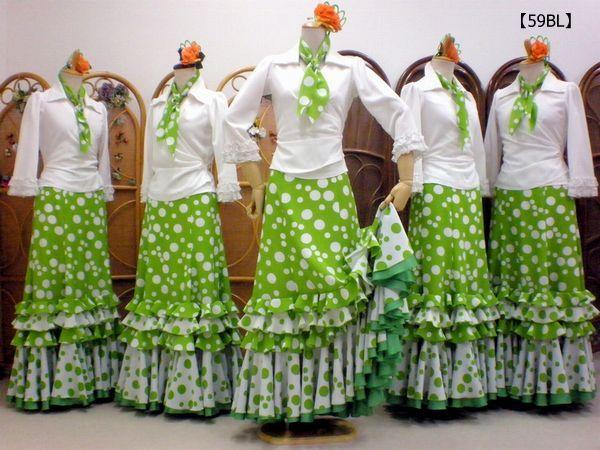 【59BL】カシュクールブラウス&黄緑ドットスカート