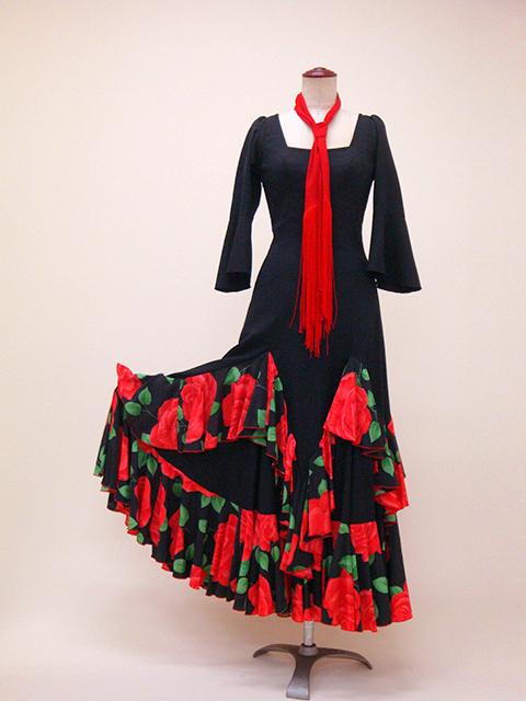 ☆ROP-4-1 黒×赤 バラ柄ワンピース