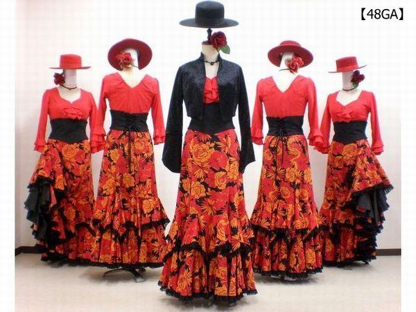 【48GA】ジャケット&赤ブラウス&オレンジ花柄スカート