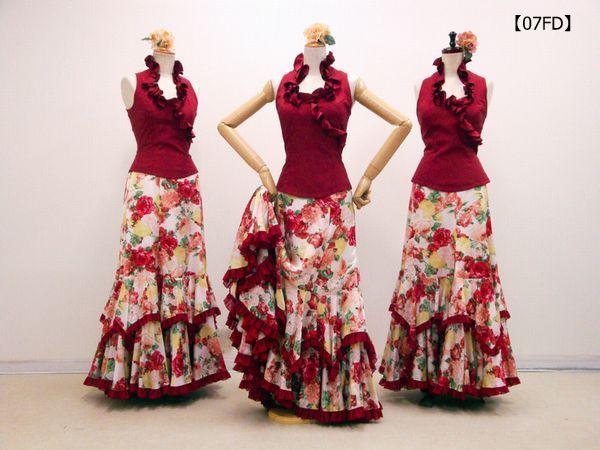 【07FD】エンジフリルブラウス×オールドローズ柄スカート