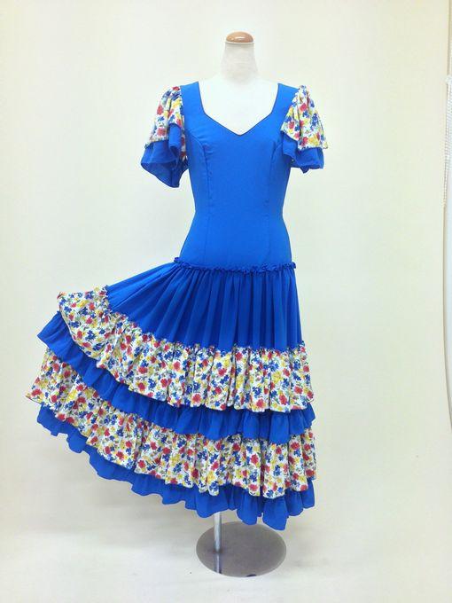 【ROPK-S-19-3】(1点もの)ブルー小花ボランテワンピース 150cm