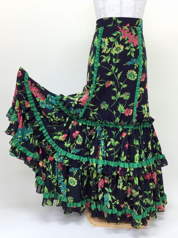 【RSK-62】黒×花柄ミニフリル付きスカート