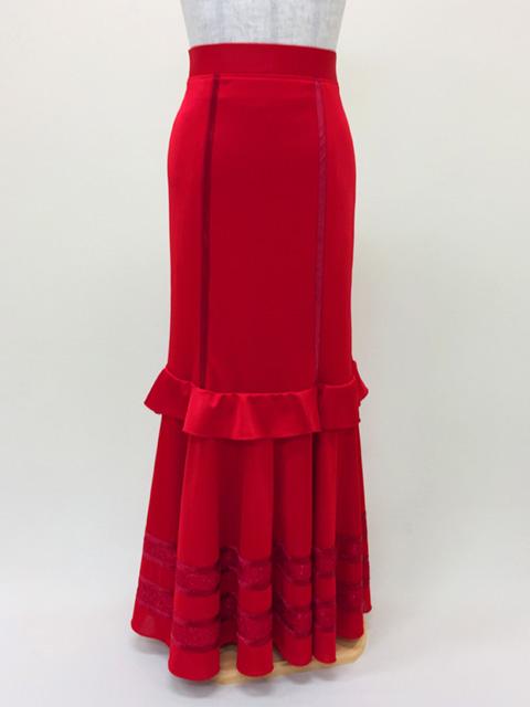 【RSK-68-3】ニットスレンダースカート(赤)