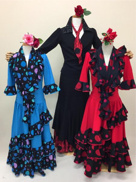 dc9665ffebcce nino-04 青と赤の水玉コンビ - フラメンコドレス衣装のレンタル・通販 ...