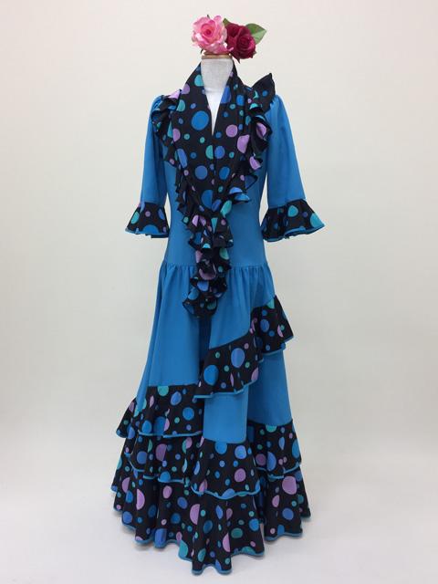 ad5199b1c065e  ROPK-10-11-2N 青×黒青ドットボランテワンピース - フラメンコドレス衣装のレンタル・通販・販売、お直しならオーダーメイド ≪ナジャハウス ≫