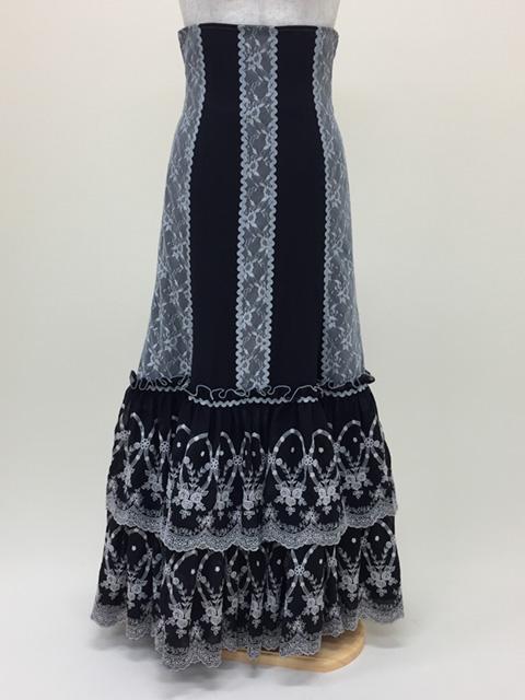 【RSK-70-1】黒/刺繍フリルスカート