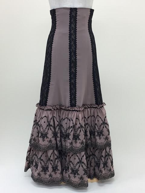 【RSK-70-2】ベージュ/刺繍フリルスカート