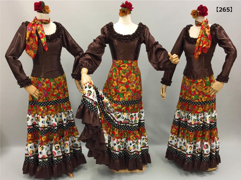 【265】花柄と茶色ハギハギスカート&茶色ブラウス