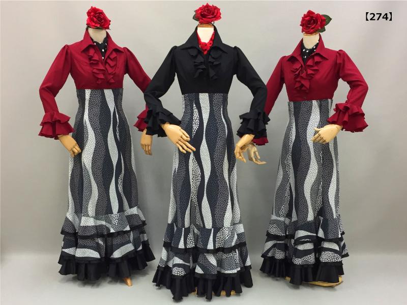 【274】モノトーンマルチドットスカートと立て衿ブラウスコーデ
