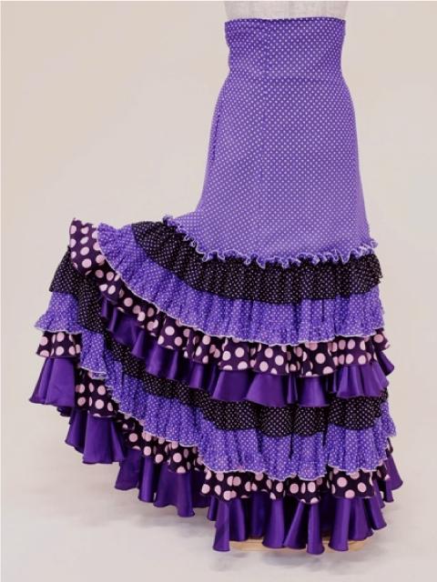 【RSK-79-2】薄紫ドットハイウエストスカート
