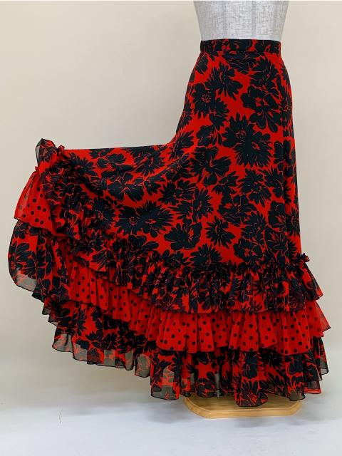 【RSK-80-1】赤地に黒花柄スカート