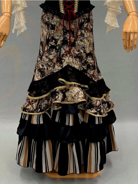 【RSK-81-1】猫柄ゴブラン織りスカート