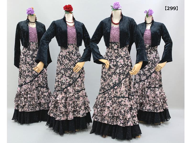 【299】夜桜柄スカートに黒ジャケットコーデ