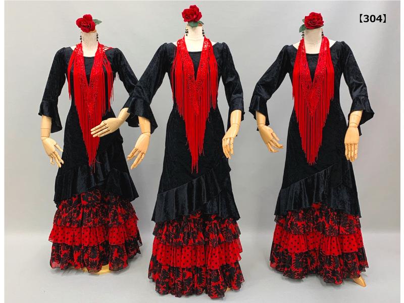 【304】黒ベロアチュニックと赤黒柄ものスカート(赤フレコ)