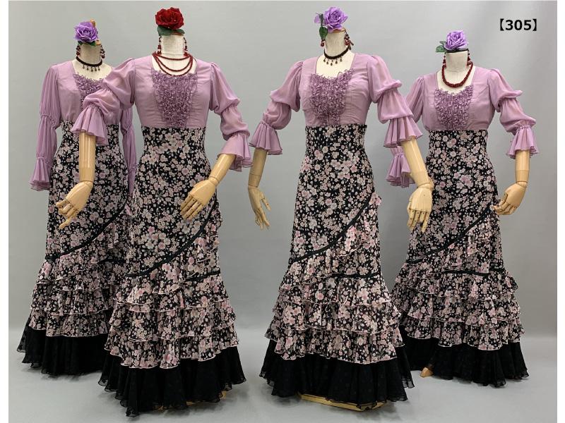 【305】夜桜柄スカートにラベンダー色のブラウス