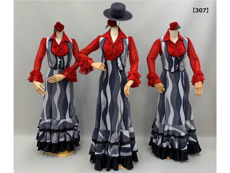 【307】モノトーンマルチドット柄スカート&ベストと赤のドットブラウス