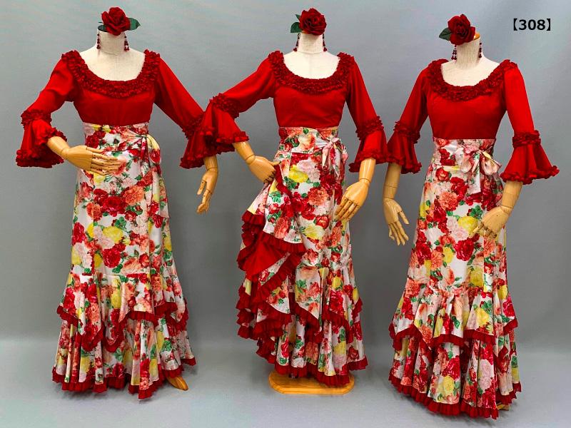 【308】華やかローズ柄スカートと赤ブラウスコーデ