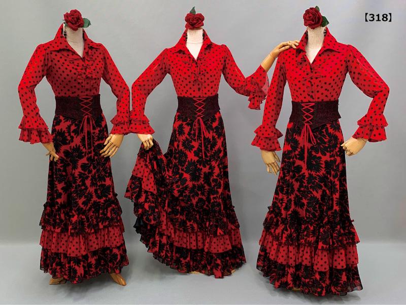 【318】赤地に黒花柄スカートに赤黒水玉シャツカラーブラウス
