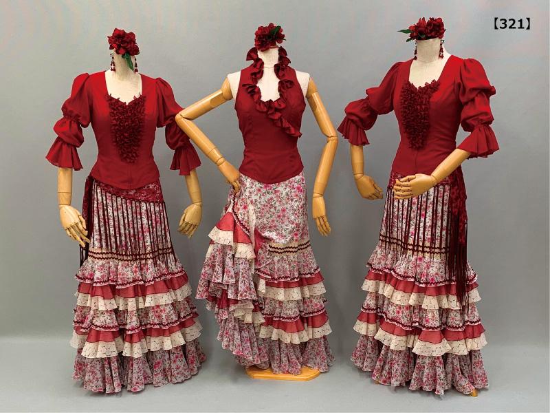 【321】ピンク桜柄スカートにエンジブラウス&レースシージョ