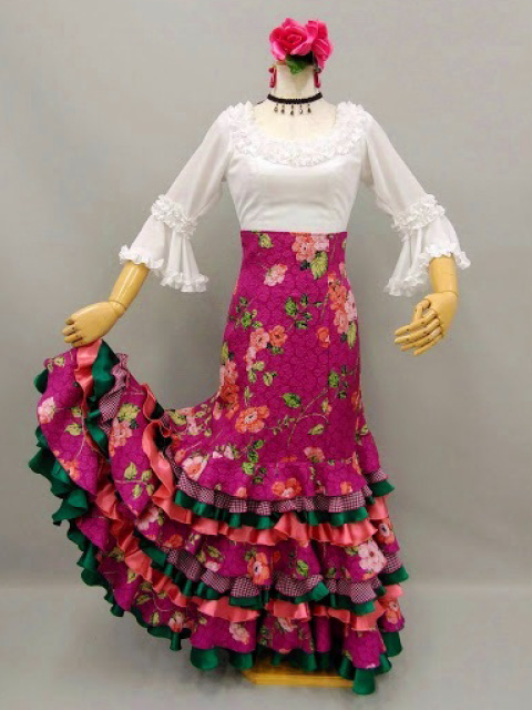 【RSK-85-2】ピンクふくれ織り花柄スカート
