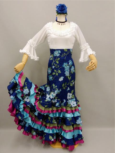 【RSK-85-3】ブルーふくれ織り花柄スカート